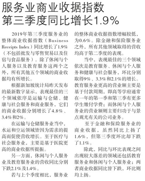 服务业商业收据指数,第三季度同比增长1.9%.png