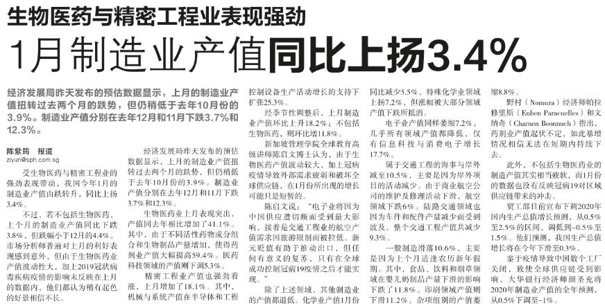 生物医药与精密工程业表现强劲,1月制造业产值同比上扬3.4%.png