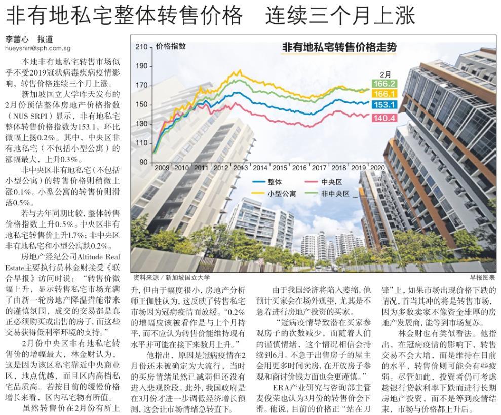 非有地私宅整体转售价格,连续三个月上涨.jpg
